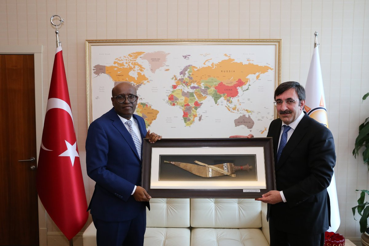 H.E.M Aden Houssein Abdillahi , Ambassador of Djibouti to Turkey has met the vice Chairman of AK Party Foreign Affairs Hon. Cevdet YILMAZ .