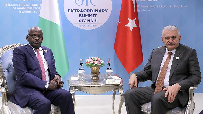 Prime Minister of Djibouti met with turkey Prime Minister at the Extraordinary Summit of the Organization of Islamic Cooperation.